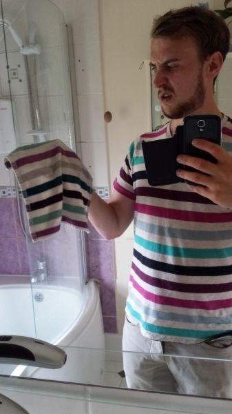 towel,poorly dressed,washcloth,matching,stripes,selfie