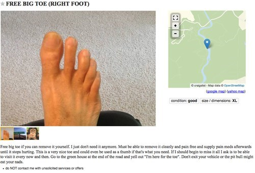 craigslist,feet,free stuff,toe,failbook