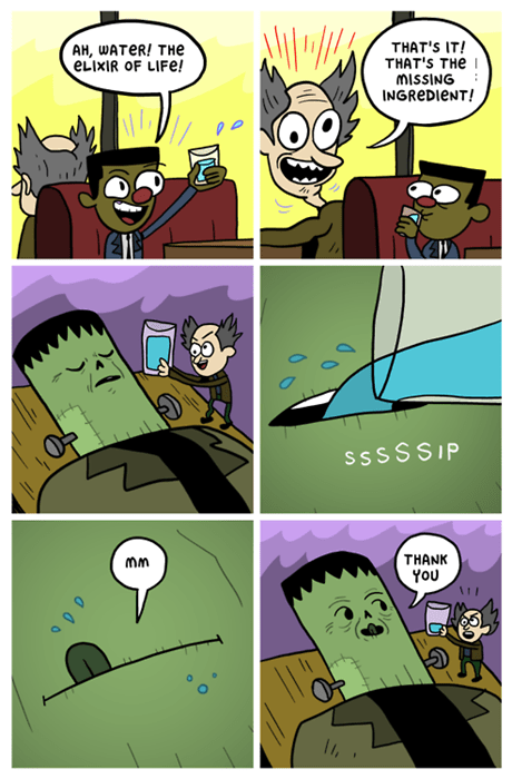 frankenstein,water,web comics