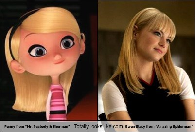 """Penny from """"Mr. Peabody & Sherman"""" Totally Looks Like Gwen Stacy from """"Amazing Spiderman"""""""