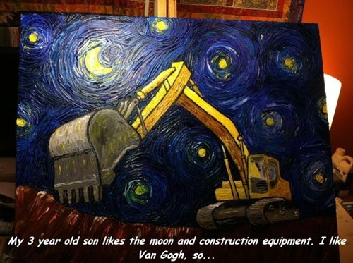 art,construction equipment,painting,parenting,starry night,Van Gogh,g rated
