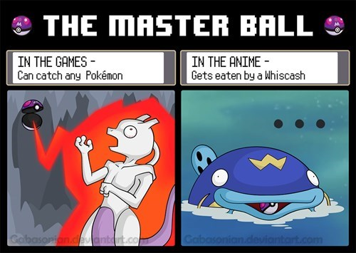 The Master Ball in the Games Vs. the Anime