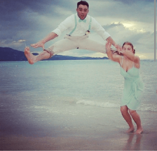 Groomsmen,poorly dressed,bridesmaids,jump,funny wedding photos,pants,wedding