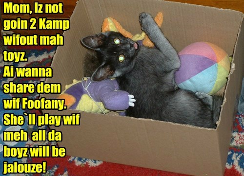 Mom, Iz not goin 2 Kamp wifout mah  toyz. Ai wanna  share dem wif Foofany. She`ll play wif meh  all da boyz will be jalouze!