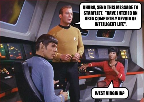 "UHURA, SEND THIS MESSAGE TO STARFLEET.  ""HAVE ENTERED AN AREA COMPLETELY DEVOID OF INTELLIGENT LIFE""."