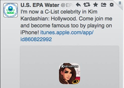 That Terrible Kim Kardashian Phone Game? Somebody Running the EPA's Twitter Account is All Up in That.