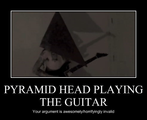 PYRAMID HEAD PLAYING THE GUITAR