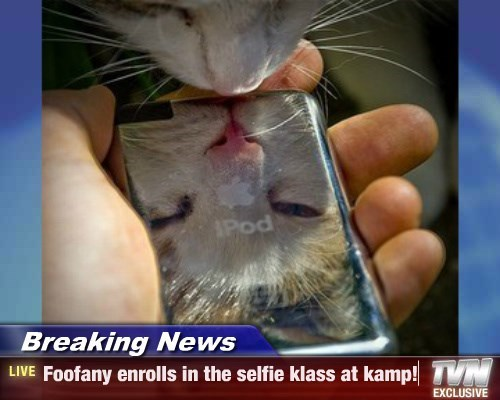 Breaking News - Foofany enrolls in the selfie klass at kamp!