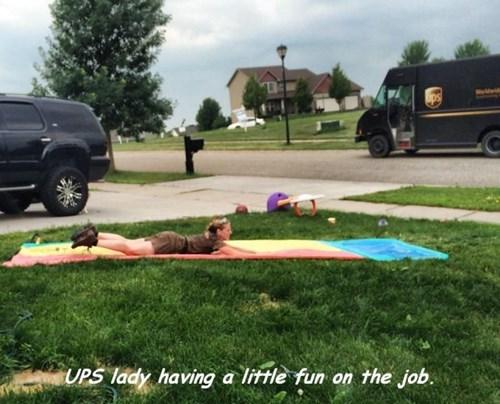 monday thru friday,summer,slip n slide,UPS