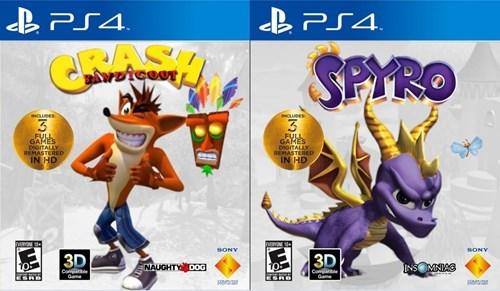 crash bandicoot,Sony,spyro