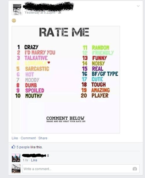 facebook,rate me