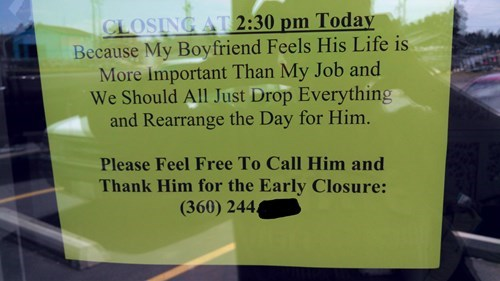 closed,dating,monday thru friday,sign