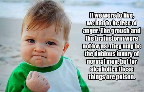 If we were to live,  we had to be free of anger. The grouch and the brainstorm were not for us. They may be the dubious luxury of normal men, but for alcoholics these  things are poison.
