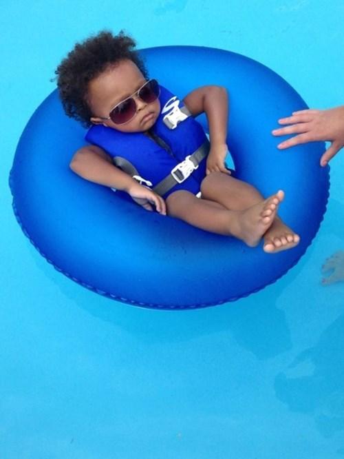 innertube,baby,sunglasses,pool,parenting