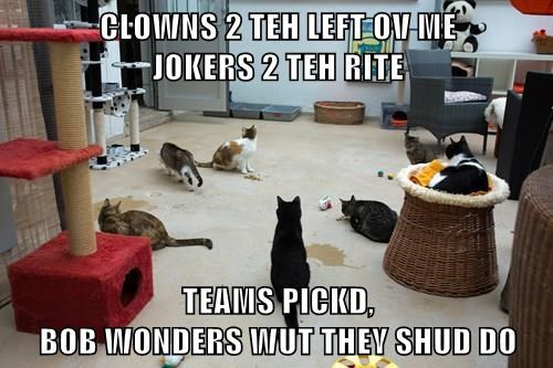 CLOWNS 2 TEH LEFT OV ME                                 JOKERS 2 TEH RITE  TEAMS PICKD,                                                                  BOB WONDERS WUT THEY SHUD DO
