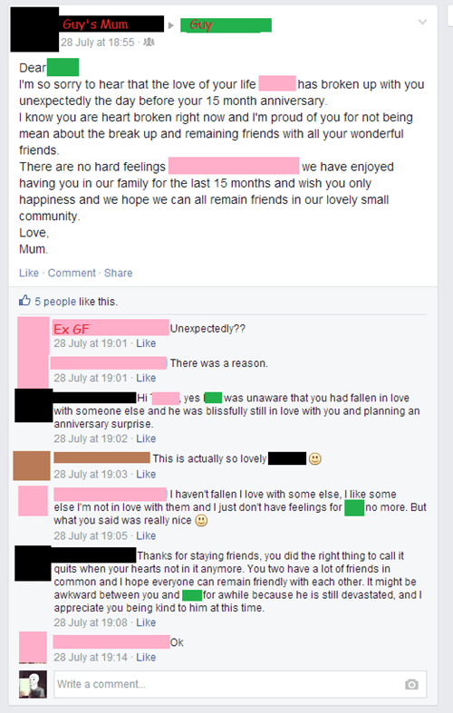 Reason #185903 to Not Be Facebook Friends With Your Parents: They'll Embarass the Hell Out of You During a Breakup