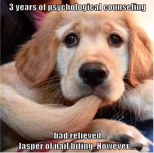 3 years of psychological counseling  had relieved                                                                                                          Jasper of nail biting. However....