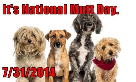 It's National Mutt Day.  7/31/2014