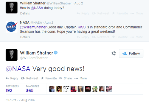 Shatner Checks in on What NASA is Up to