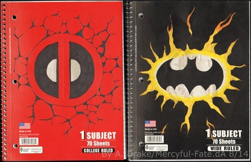 notebook,deadpool,batman