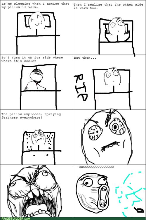 Pillow,feathers,sneeze,sleeping