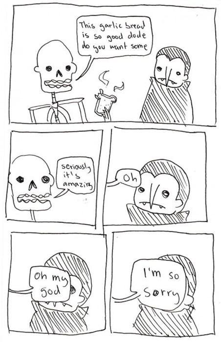 garlic,vampires,skeletons,web comics,dracula