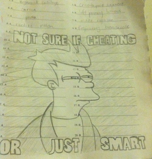 cheating,test,fry,funny,g rated