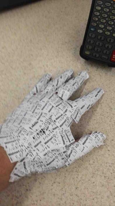 monday thru friday,gloves,retail,price tag,boredom,Walmart,g rated