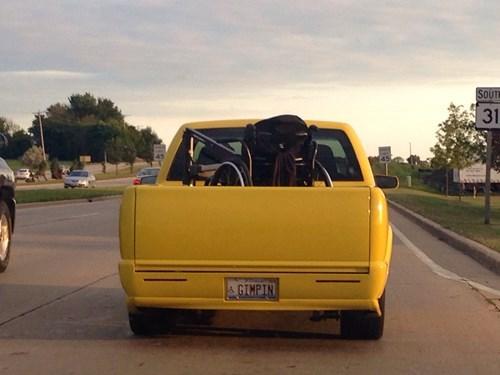 disability,puns,wheelchair,truck,license plate