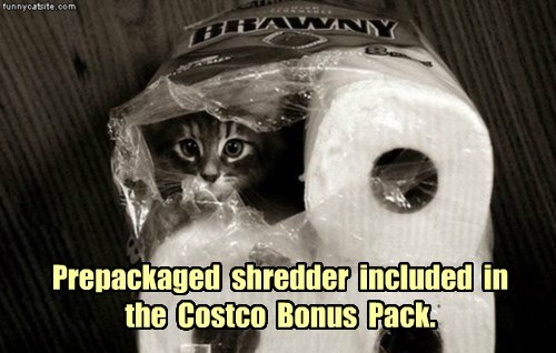 Prepackaged  shredder  included  in the  Costco  Bonus  Pack.