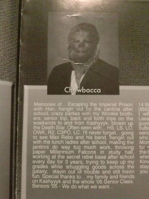 Chewbacca's Yearbook Photo