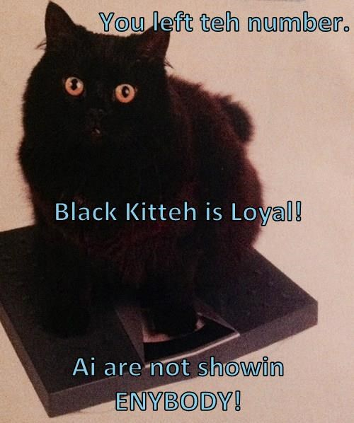 You left teh number.  Black Kitteh is Loyal! Ai are not showin ENYBODY!