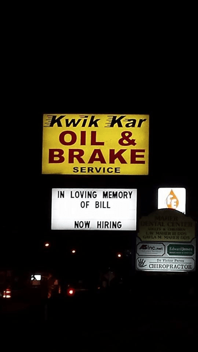 monday thru friday,rest in peace,sign,now hiring,g rated