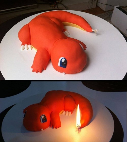 cake,Pokémon,IRL,charmander,birthday cake