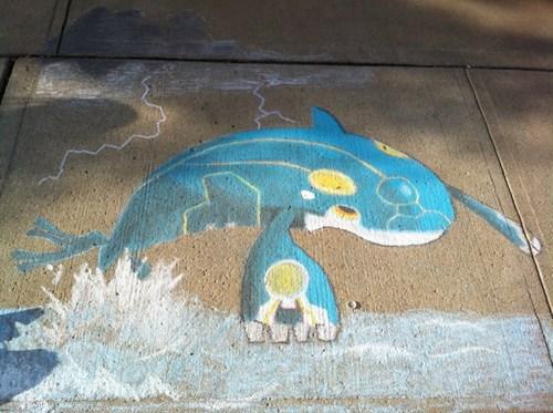 art,kyogre,chalk art