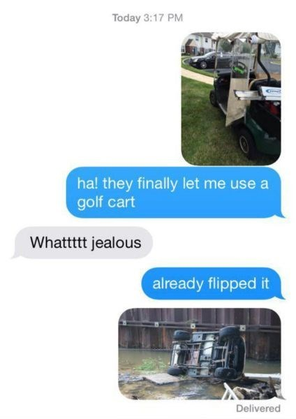 golf cart,cars,crash,texting,g  rated,failbook