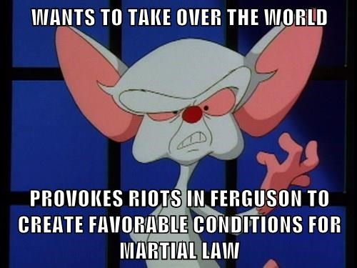 WANTS TO TAKE OVER THE WORLD  PROVOKES RIOTS IN FERGUSON TO CREATE FAVORABLE CONDITIONS FOR MARTIAL LAW
