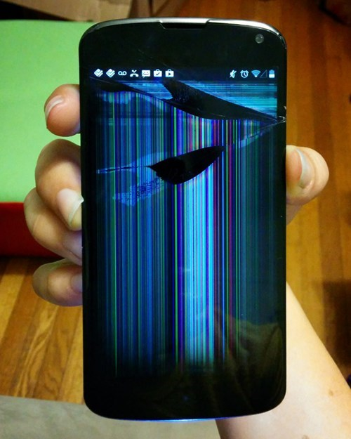 We've Come Full Circle: This is a Phone Wallpaper... of a Broken Phone Screen.