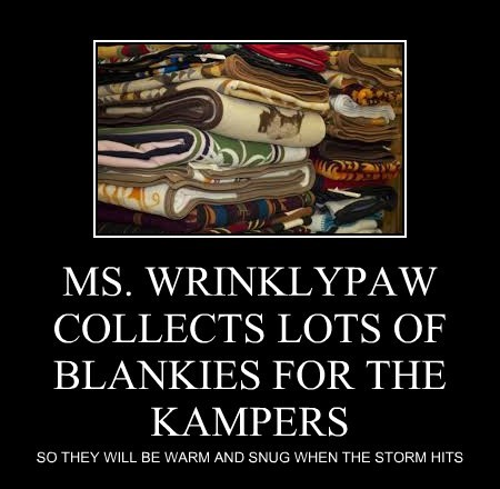 MS. WRINKLYPAW COLLECTS LOTS OF BLANKIES FOR THE KAMPERS