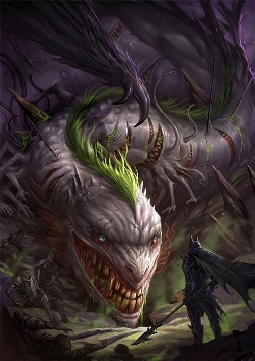 Medieval Batman vs Joker dragon