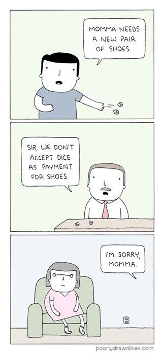 shoes,expressions,dice,no dice,web comics
