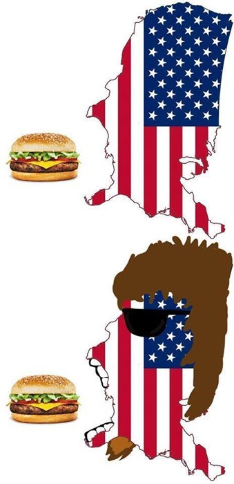 If You Flip America on Its Side, You See a Patriot Eating a Burger