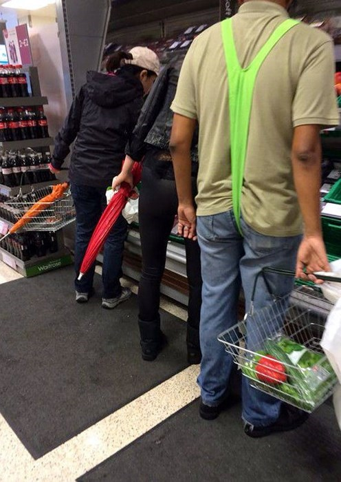 poorly dressed,grocery shopping,grocery store,mankini