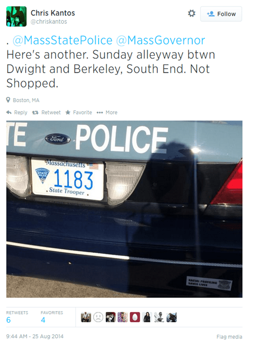 A Massachusetts Police Car Got Tagged With a Controversial Bumper Sticker, Things Got Awkward
