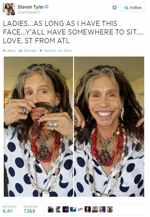 Steven Tyler, Old Enough to be Everyone's Dad Forever, Determined to Skeeve Out Young People on Twitter