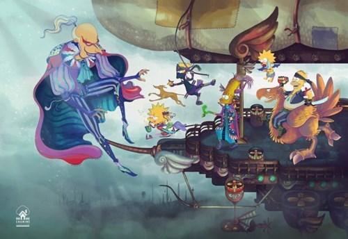 FanArt,Final Fantasy IV,the simpsons