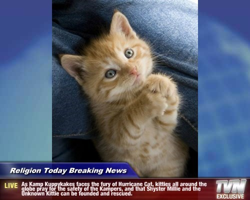 Religion Today Breaking News - As Kamp Kuppykakes faces the fury of Hurricane Cat, kitties all around the globe pray for the safety of the Kampers, and that Shyster Millie and the Unknown Kittie can be founded and rescued.