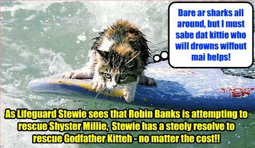 Stewie knew from Madame Esmeralda's ominous predikshun dat kitties wer in great danjers.. so he resolved dat eben wiff tornadoes an' lightnings, he'd remain at teh pool an' lifeguard to sabe any kitties dat mite fall in..