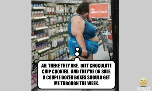 AH, THERE THEY ARE.  DIET CHOCOLATE CHIP COOKIES.  AND THEY'RE ON SALE.  A COUPLE DOZEN BOXES SHOULD GET ME THROUGH THE WEEK.