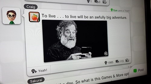 A Fantastic Tribute to Robin Williams on Miiverse